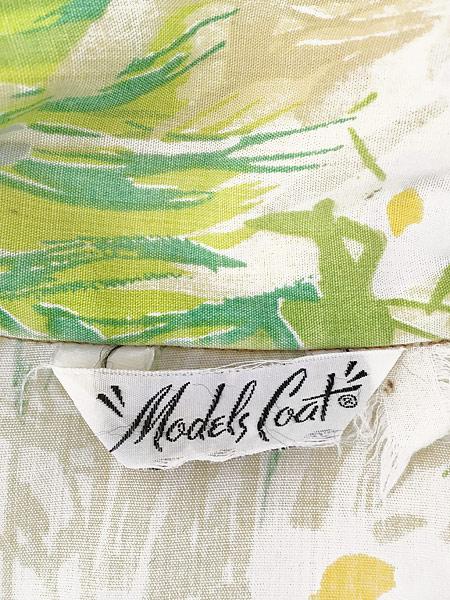 [7] レディース 古着 70s Models Coat 草花 総柄 パステル 半袖 ワンピース ドレス ミドル丈 M位 古着