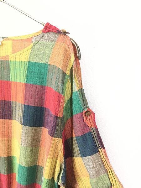 [5] レディース 古着 80s ITALY製 Isabel パステル チェック ショルダー カット 半袖 ワンピース ドレス ミドル丈 M位 古着