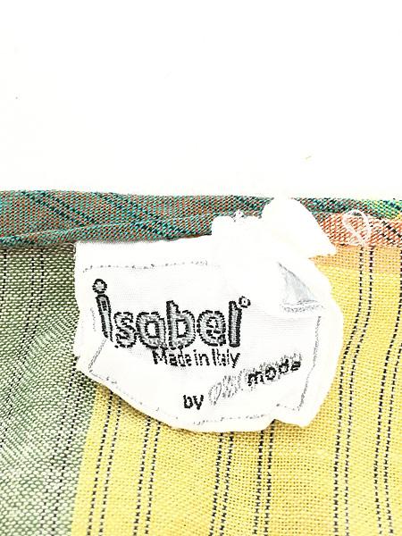 [7] レディース 古着 80s ITALY製 Isabel パステル チェック ショルダー カット 半袖 ワンピース ドレス ミドル丈 M位 古着