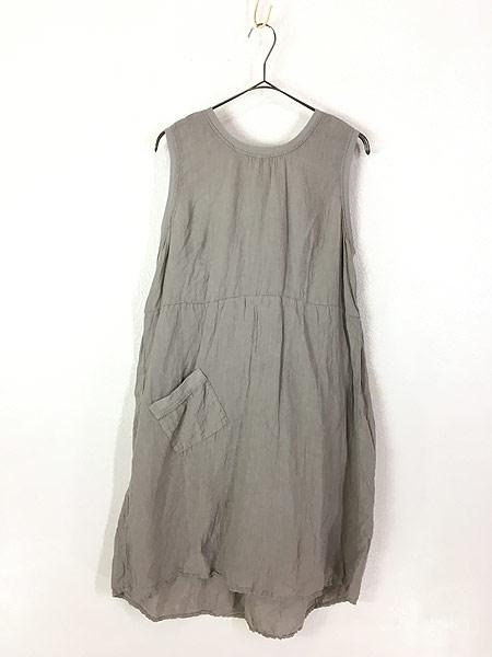 [1] レディース 古着 FLAX シンプル リネン ノースリーブ ワンピース ドレス ミドル丈 S 古着