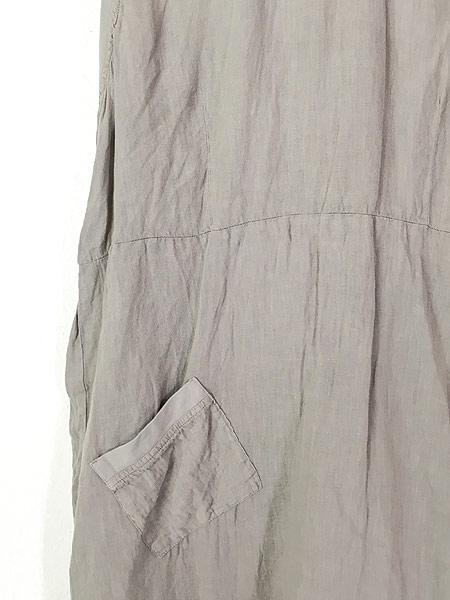 [4] レディース 古着 FLAX シンプル リネン ノースリーブ ワンピース ドレス ミドル丈 S 古着