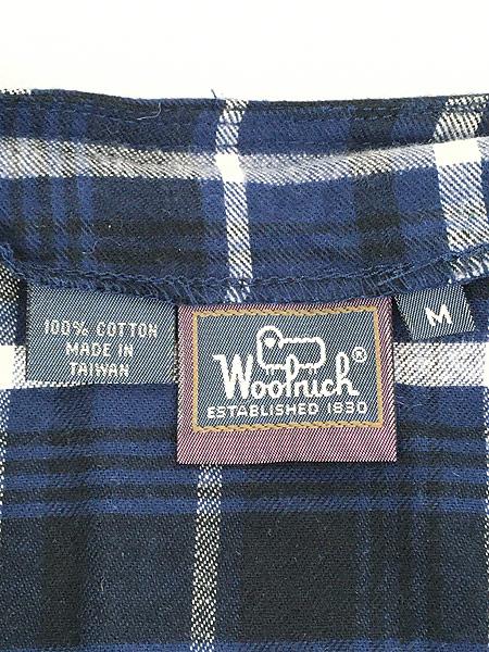 [6] レディース 古着 90s WoolRich 前開き チェック フランネル ノースリーブ ワンピース ドレス ロング丈 M 古着