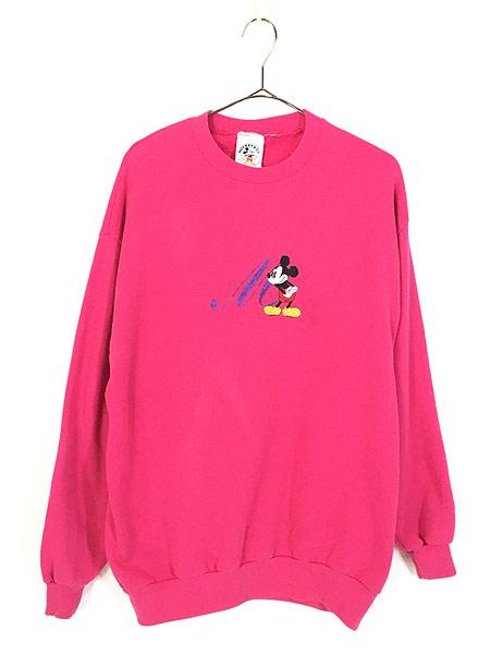 [1] レディース 古着 90s USA製 Disney Mickey ミッキー イニシャル 刺しゅう キャラクター スウェット XL位 古着
