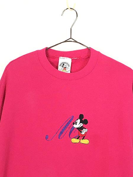 [2] レディース 古着 90s USA製 Disney Mickey ミッキー イニシャル 刺しゅう キャラクター スウェット XL位 古着