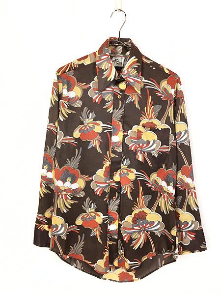 [1] レディース 古着 70s Satton Place 花 女性 総柄 サイケデリック レトロ シャツ ポリシャツ S 古着