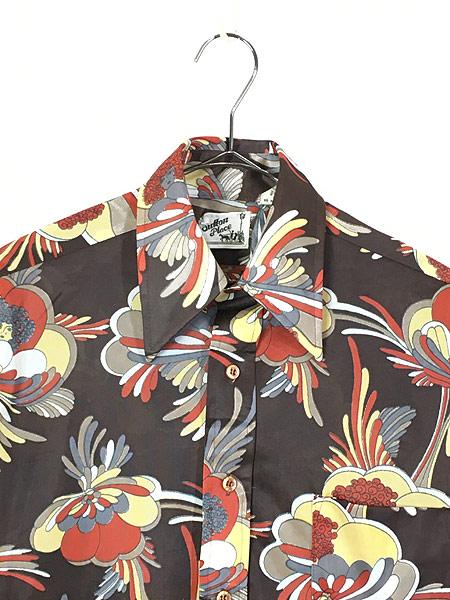 [2] レディース 古着 70s Satton Place 花 女性 総柄 サイケデリック レトロ シャツ ポリシャツ S 古着