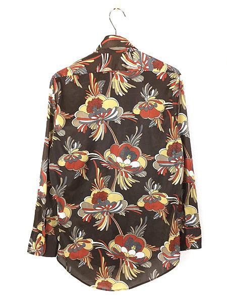 [3] レディース 古着 70s Satton Place 花 女性 総柄 サイケデリック レトロ シャツ ポリシャツ S 古着