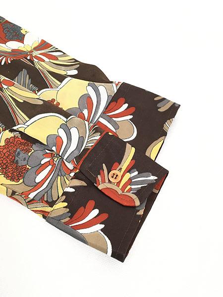 [4] レディース 古着 70s Satton Place 花 女性 総柄 サイケデリック レトロ シャツ ポリシャツ S 古着