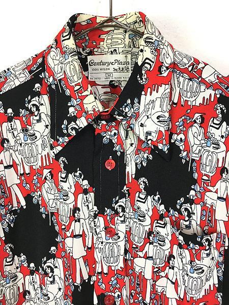 [2] レディース 古着 70s Century Plaza 食事 パーティ 総柄 サイケデリック レトロ シャツ ポリシャツ M 古着