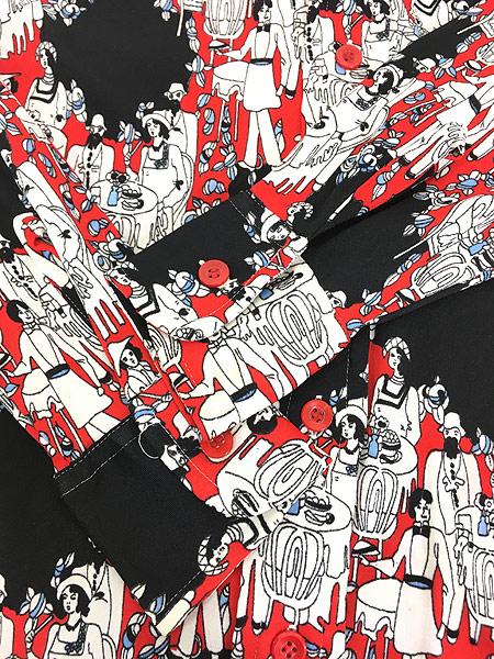 [5] レディース 古着 70s Century Plaza 食事 パーティ 総柄 サイケデリック レトロ シャツ ポリシャツ M 古着
