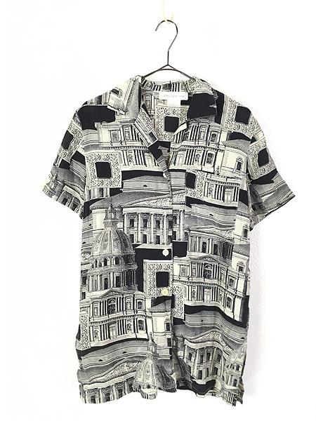 [1] レディース 古着 JONES NEW YORK 建造物 総柄 上質 100%  シルク 開襟 シャツ 半袖 S 古着