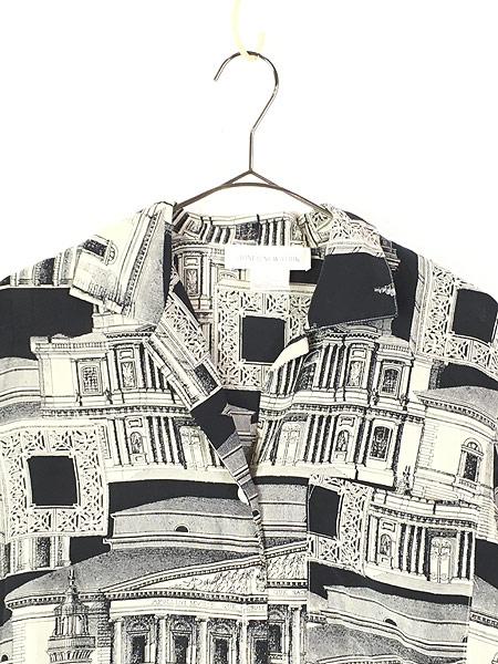 [2] レディース 古着 JONES NEW YORK 建造物 総柄 上質 100%  シルク 開襟 シャツ 半袖 S 古着