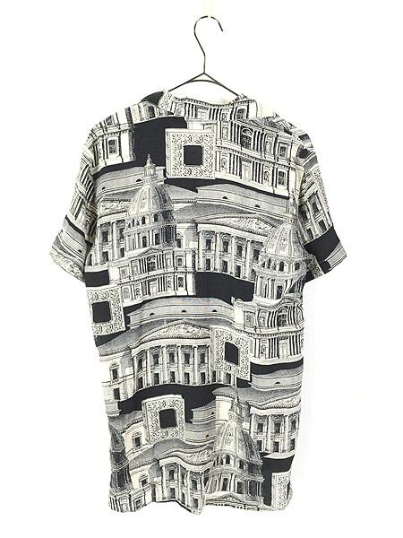 [3] レディース 古着 JONES NEW YORK 建造物 総柄 上質 100%  シルク 開襟 シャツ 半袖 S 古着