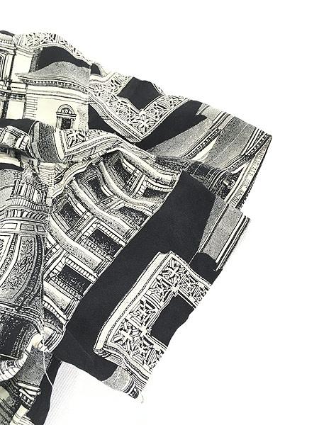 [4] レディース 古着 JONES NEW YORK 建造物 総柄 上質 100%  シルク 開襟 シャツ 半袖 S 古着