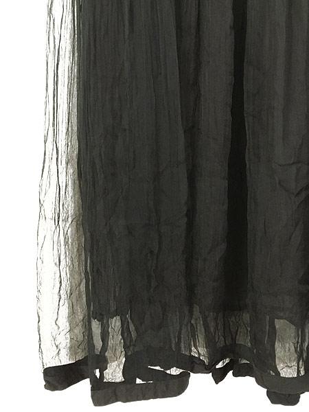 [5] レディース 古着 80s Bali Princess ワッシャー 加工 シースルー レーヨン ロング丈 ワンピース 黒 L 古着