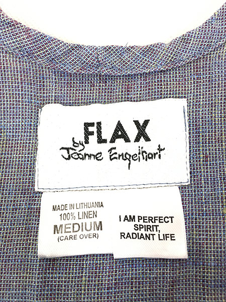 [4] レディース 古着 FLAX フラックス デザイン シャンブレー ノースリーブ ロング丈 リネン ワンピース М 古着