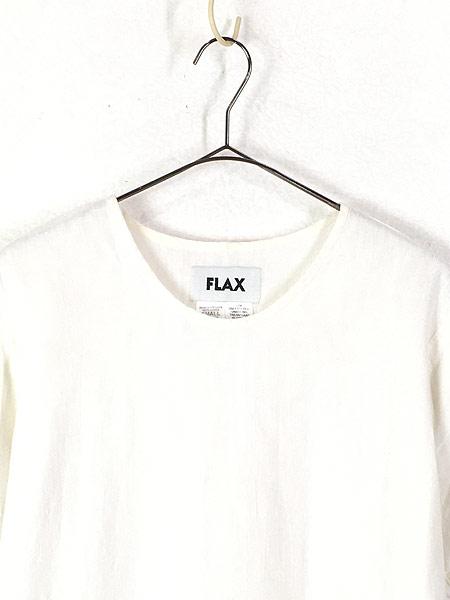 [2] レディース 古着 FLAX フラックス 無地 シンプル 半袖 リネン トップス 白 S 古着