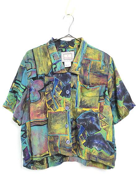 [1] レディース 古着 90s USA製 油絵 絵画 アート 半袖 ショート丈 レーヨン シャツ M 古着
