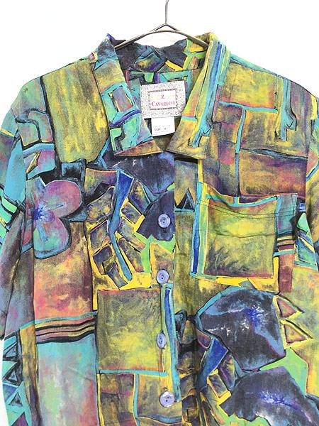 [2] レディース 古着 90s USA製 油絵 絵画 アート 半袖 ショート丈 レーヨン シャツ M 古着