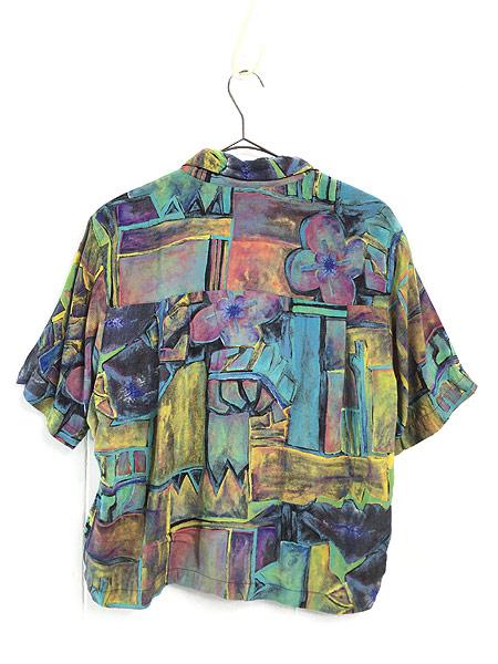 [3] レディース 古着 90s USA製 油絵 絵画 アート 半袖 ショート丈 レーヨン シャツ M 古着