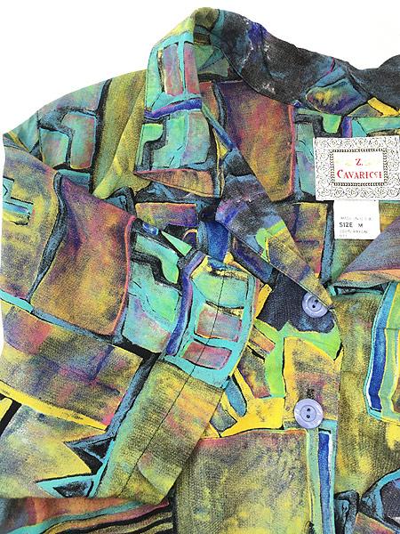 [4] レディース 古着 90s USA製 油絵 絵画 アート 半袖 ショート丈 レーヨン シャツ M 古着