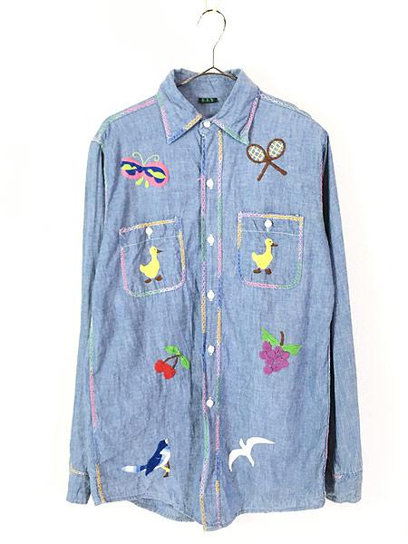 [1] レディース 古着 70s USA製 ELY アニマル フルーツ 刺しゅう シャンブレー シャツ XL位 古着