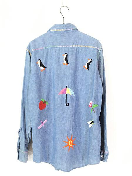[3] レディース 古着 70s USA製 ELY アニマル フルーツ 刺しゅう シャンブレー シャツ XL位 古着