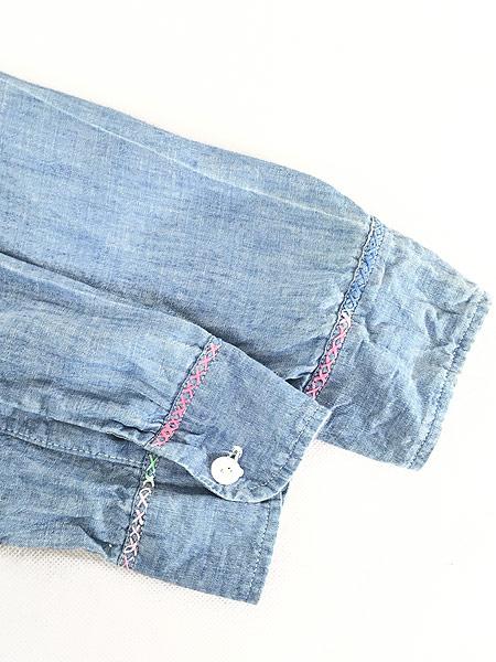 [4] レディース 古着 70s USA製 ELY アニマル フルーツ 刺しゅう シャンブレー シャツ XL位 古着