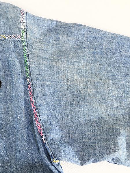 [6] レディース 古着 70s USA製 ELY アニマル フルーツ 刺しゅう シャンブレー シャツ XL位 古着