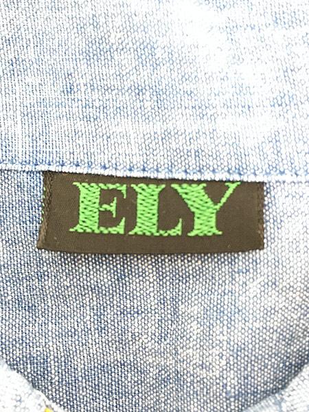 [7] レディース 古着 70s USA製 ELY アニマル フルーツ 刺しゅう シャンブレー シャツ XL位 古着