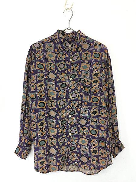 [1] レディース 古着 80s USA製 GUESS 幾何学柄 アート デザイン レーヨン シャツ S 古着