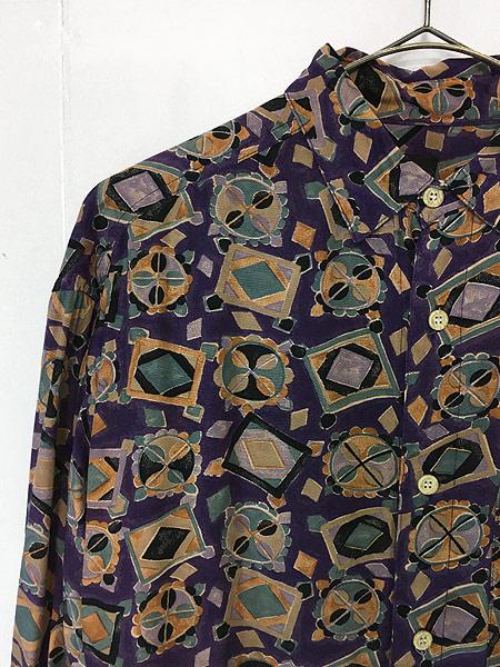 [3] レディース 古着 80s USA製 GUESS 幾何学柄 アート デザイン レーヨン シャツ S 古着