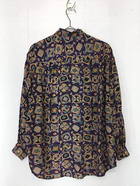 [5] レディース 古着 80s USA製 GUESS 幾何学柄 アート デザイン レーヨン シャツ S 古着