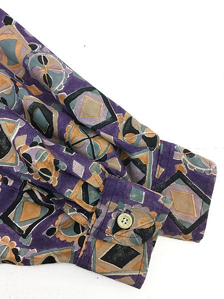 [6] レディース 古着 80s USA製 GUESS 幾何学柄 アート デザイン レーヨン シャツ S 古着