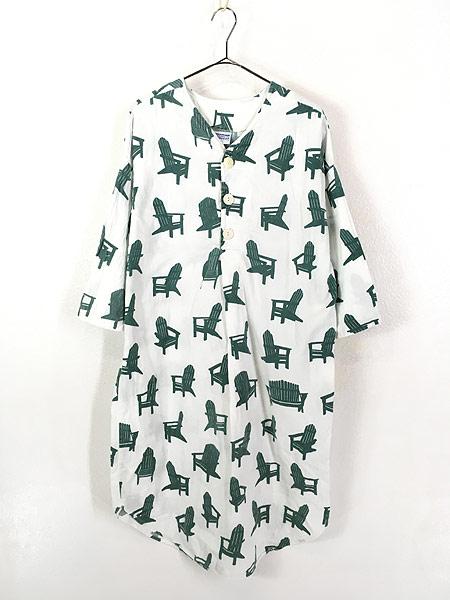 [1] レディース 古着 80s USA製 Michigan Rag 椅子 フランネル グランパシャツ ワンピース ドレス S/M 古着