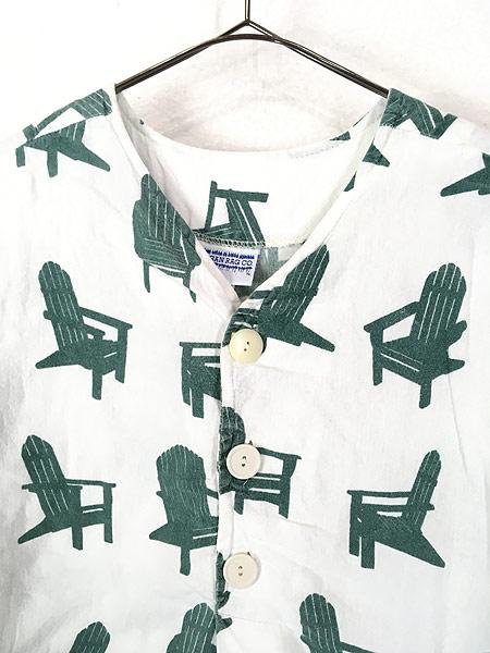 [2] レディース 古着 80s USA製 Michigan Rag 椅子 フランネル グランパシャツ ワンピース ドレス S/M 古着
