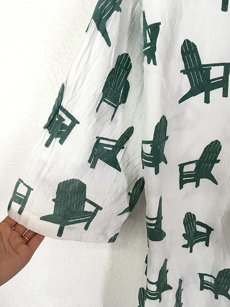 [3] レディース 古着 80s USA製 Michigan Rag 椅子 フランネル グランパシャツ ワンピース ドレス S/M 古着