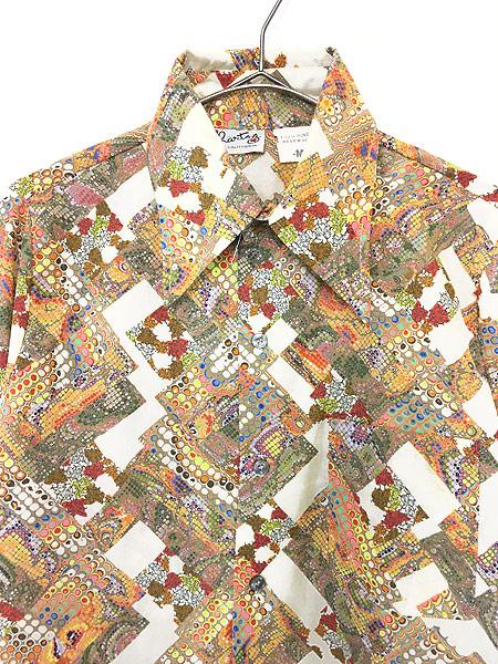 [2] レディース 古着 70s 和風 鱗 花 総柄 サイケ ポリエステル シャツ 柄シャツ M 古着