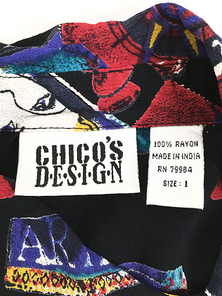 [6] レディース 古着 CHICO'S DESIGN 灯台 コンパス ステッカー風 アート 半袖 レーヨン シャツ M位 古着