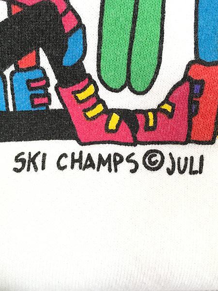 [6] レディース 古着 90s USA製 juli 「SKI CHAMPS」 スキー ポップ アート スウェット トレーナー L 古着