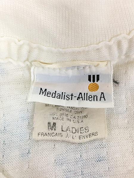 [5] レディース 古着 80s USA製 Medalist Allen A 雪 結晶 総柄 2レイヤー サーマル トップス M 古着