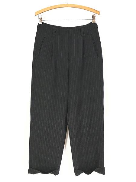 [1] レディース 古着 DKNY ダナキャラン ストライプ ワイド スラックス パンツ 黒 W28 L27.5 古着