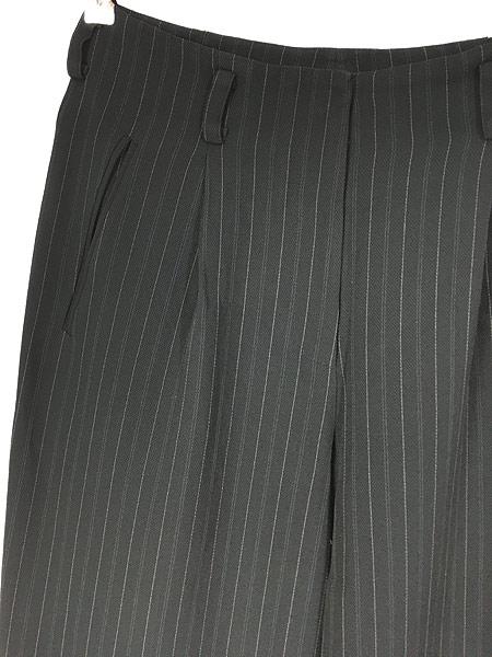 [2] レディース 古着 DKNY ダナキャラン ストライプ ワイド スラックス パンツ 黒 W28 L27.5 古着