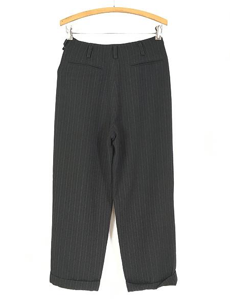 [3] レディース 古着 DKNY ダナキャラン ストライプ ワイド スラックス パンツ 黒 W28 L27.5 古着