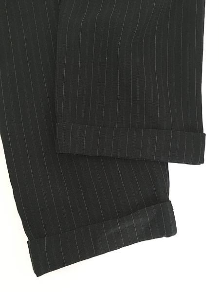 [4] レディース 古着 DKNY ダナキャラン ストライプ ワイド スラックス パンツ 黒 W28 L27.5 古着