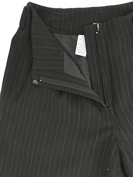 [5] レディース 古着 DKNY ダナキャラン ストライプ ワイド スラックス パンツ 黒 W28 L27.5 古着