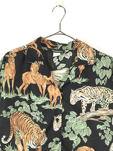 [2] レディース 古着 80s USA製 AVANTI アニマル ジャングル サファリ 総柄 半袖 シャツ XL位 古着