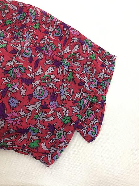 [4] レディース 古着 インド製 Classic 花 ゾウ 総柄 エスニック インド綿 シースルー 半袖 ワンピース ロング丈 S 古着