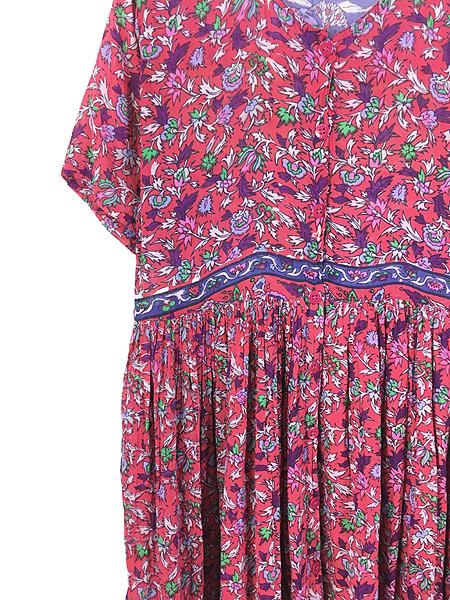 [5] レディース 古着 インド製 Classic 花 ゾウ 総柄 エスニック インド綿 シースルー 半袖 ワンピース ロング丈 S 古着
