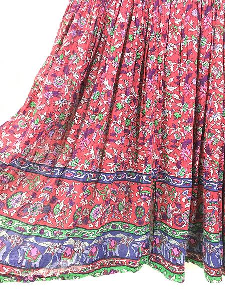 [6] レディース 古着 インド製 Classic 花 ゾウ 総柄 エスニック インド綿 シースルー 半袖 ワンピース ロング丈 S 古着